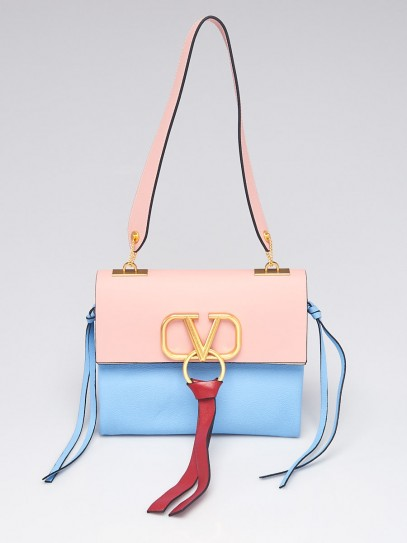 Valentino Pink/Blue Calfskin Leather VRING Small Shoulder Bag