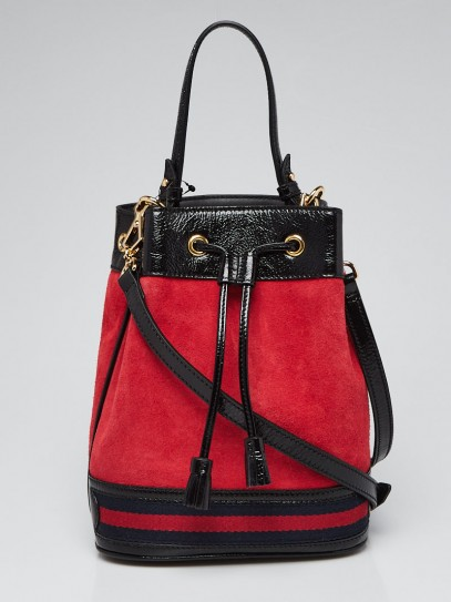 Gucci Red Suede/Black Patent Leather Ophidia Small Bucket Bag
