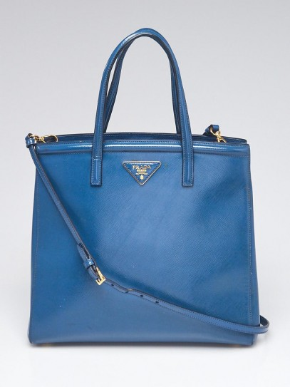 Prada Blue Patent Saffiano Leather Thin Tote Bag