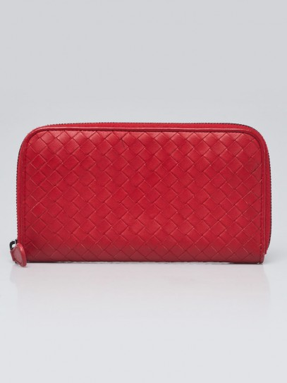 Bottega Veneta Red Intrecciato Woven Nappa Leather Zip Around Wallet