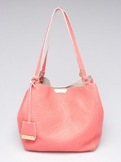 Burberry Pink Embossed Check Leather Small Canterbury Tote Bag