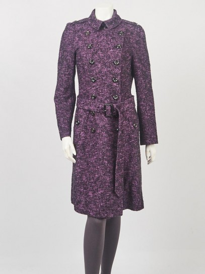 Burberry Purple/Black Cotton Blend Double Breast Trench Coat Size 8/42