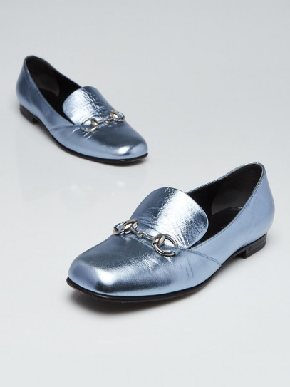 Gucci Cielo Blue Leather Horsebit Loafers Size 6.5/37