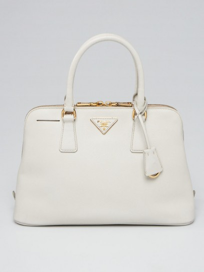 Prada White Saffiano Leather Top Handle Bag BL0837