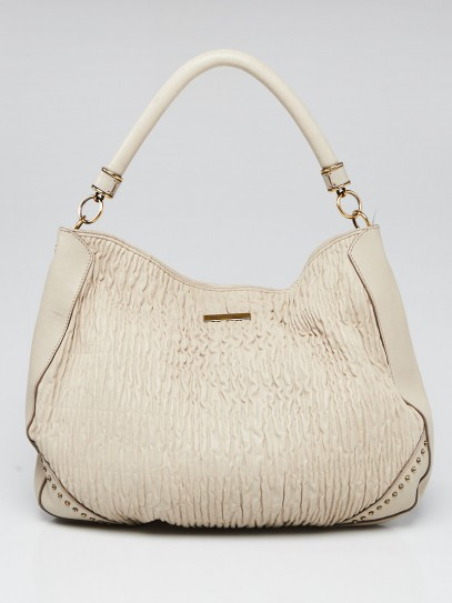 Burberry Grey Lambskin Leather Ruched Hobo Bag