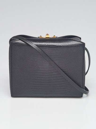 Alexander McQueen Black Lizard Embossed Leather Box Bag