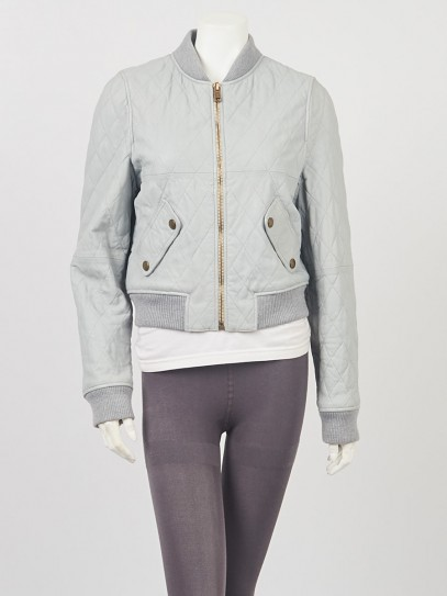 Chloe Pastel Blue Quilted Lambskin Zip Bomber Jacket Size 4/38