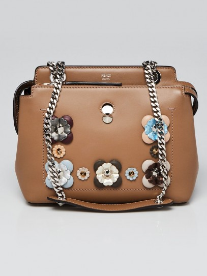 Fendi Taupe Leather Floral-Studded Dotcom Satchel Bag- 8BN299