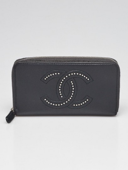 Chanel Black Leather Studded CC Zip Wallet