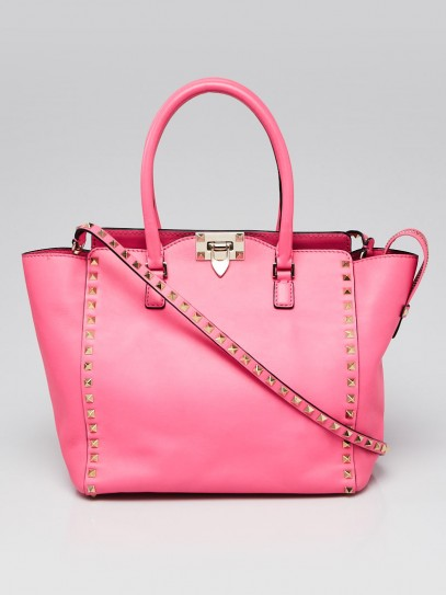 Valentino Neon Pink Smooth Calfskin Leather Rockstud Medium Double Handle Bag