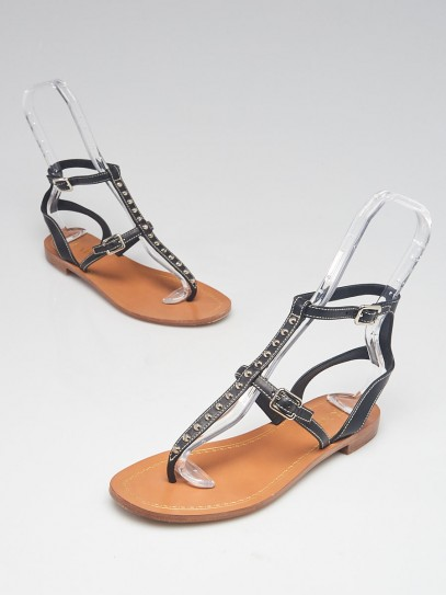 Prada Black Leather T-Strap Studded Flat Sandals Size 7/37.5