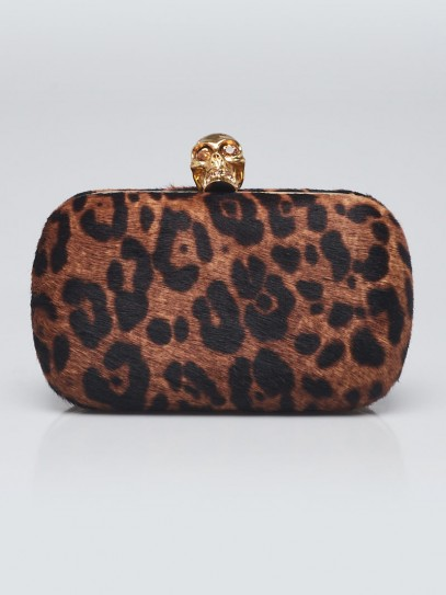 Alexander McQueen Leopard Print Pony Hair Studded Skull Box Clutch Bag