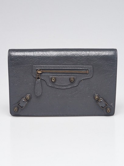 Balenciaga Gris Fossile Lambskin Leather Wallet On Chain Clutch Bag