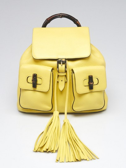 Gucci Yellow Pebbled Leather Bamboo Backpack Bag