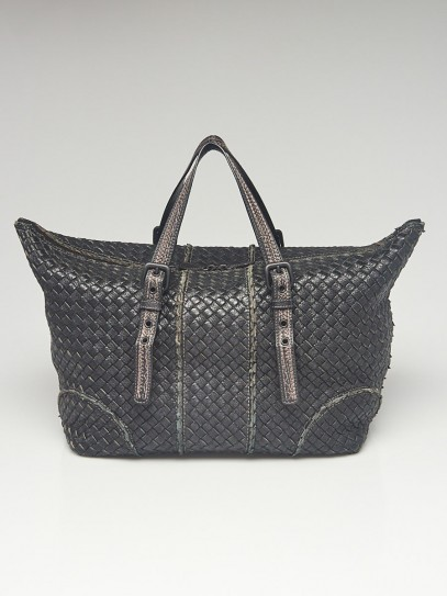 Bottega Veneta Black Intrecciato Woven Vivo Cervo Leather Satchel Bag