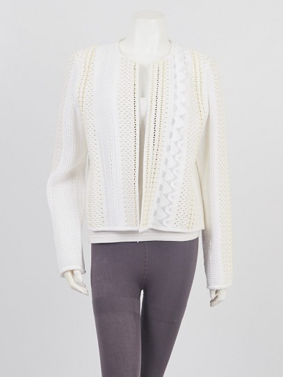 Louis Vuitton White Cotton/Vinyl Braided Jacket Size 8/44