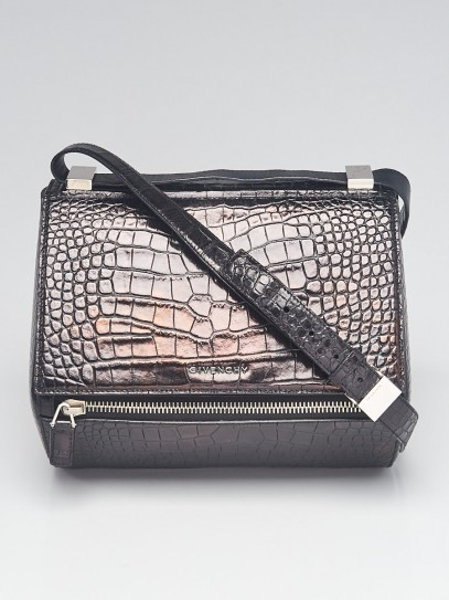 Givenchy Black Croc Embossed Leather Pandora Box Bag