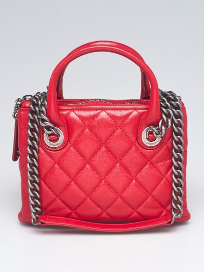 Chanel Red Quilted Leather Small Boy Chained Tote Bag