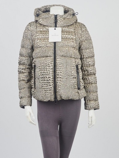 Moncler Gold Metallic Quilted Polyester Down Breteuil Jacket Size 1/S