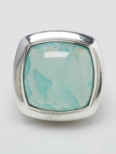 David Yurman 17mm Aqua Chalcedony and Sterling Silver Albion Ring Size 9.5