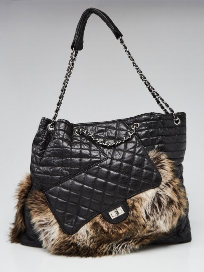 Chanel Black Quilted Calfskin Leather and Karl's Cabas Fantasy Fur Tote Bag