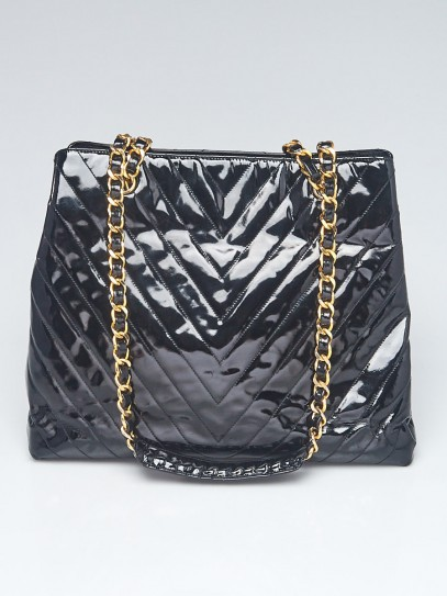 Chanel Black Chevron Quilted Patent Leather Shopping Tote Bag