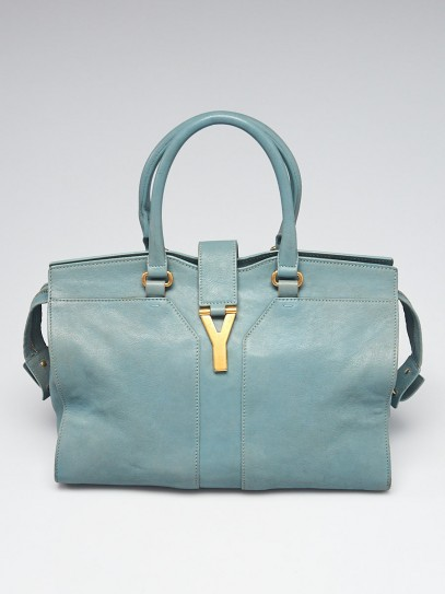 Yves Saint Laurent Light Blue Calfskin Leather Medium Cabas ChYc Bag