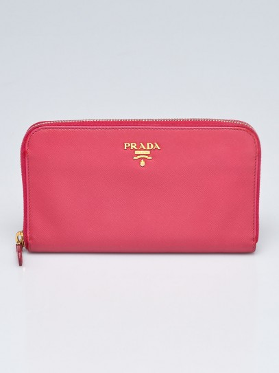 Prada Peonia Saffiano Metal Leather Zip Wallet 1M0506