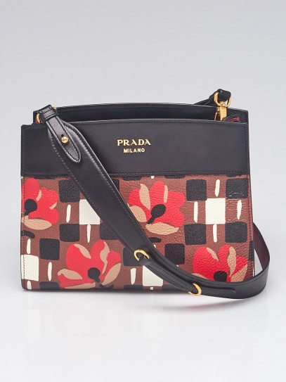 Prada Tabacco/Nero Madras St. Pense Printed Leather Bibliotheque Shoulder Bag 1BC034