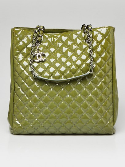 Chanel Green Quilted Patent Leather North/South Tote Bag