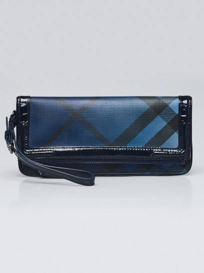 Burberry Blue Check Coated Canvas/Patent Leather Folding Clutch Bag