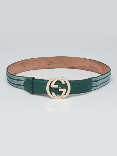 Gucci Green/Blue Canvas/Leather Interlocking G Buckle Belt Size 90/36