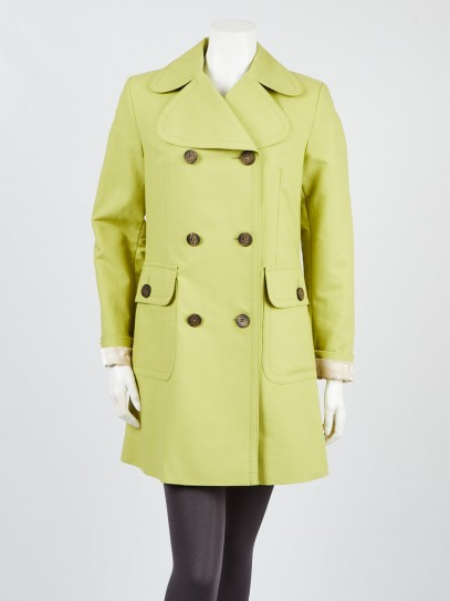 Burberry Lime Green Cotton Double Breast Water Resistant Trench Coat Size 6/40