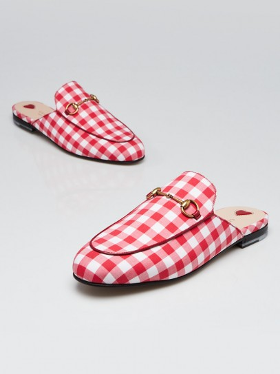 Gucci Red/White Gingham Cotton Princetown Mule Flats Size 9/39.5