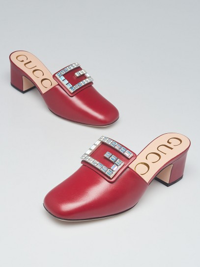 Gucci Romantic Cerise Leather Madelyn Mules Size 5.5/36