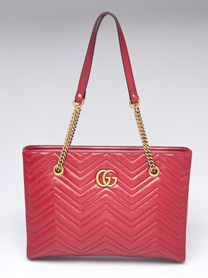 Gucci Red Quilted Calf Leather Marmont Medium Tote Bag