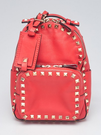 Valentino Red Smooth Leather Rockstud Mini Backpack Bag