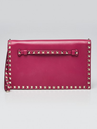 Valentino Purple Leather Rockstud Small Clutch Bag