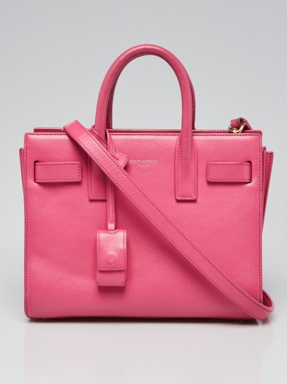 Yves Saint Laurent Pink Calfskin Leather Nano Sac de Jour Bag