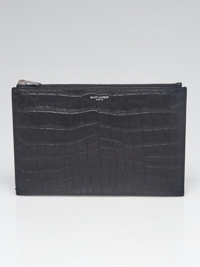 Yves Saint Laurent Black Croc Embossed Leather Zipped Mini Tablet Sleeve