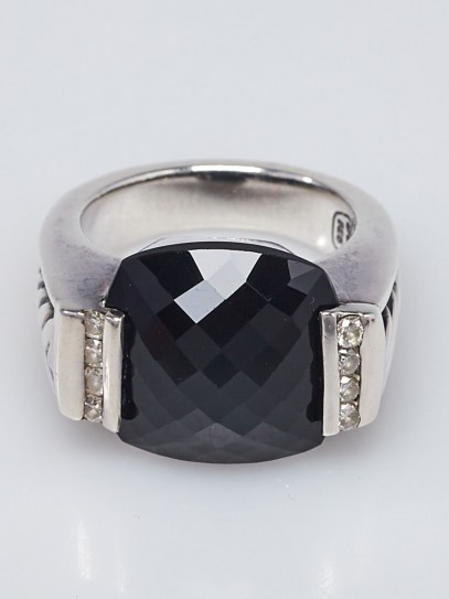 David Yurman 15 x14mm Black Onyx and Diamond Deco Ring Size 7.5