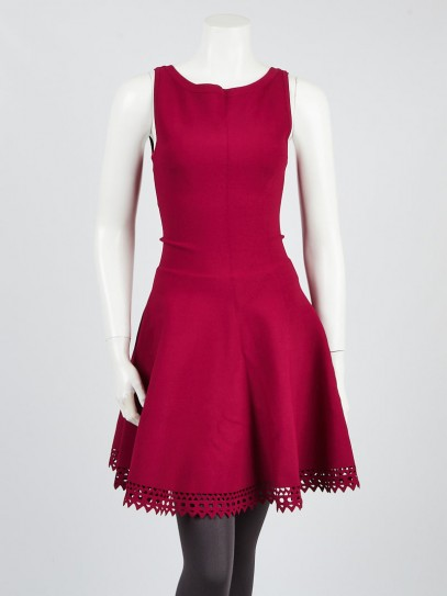 Alaïa Raspberry Red Viscose Blend Perforated Knit Sleeveless Dress Size 4/38