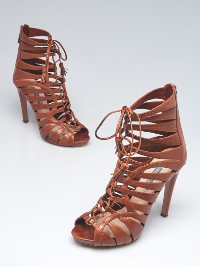 Prada Brown Leather Lace Up Strappy Sandals Size 8.5/39