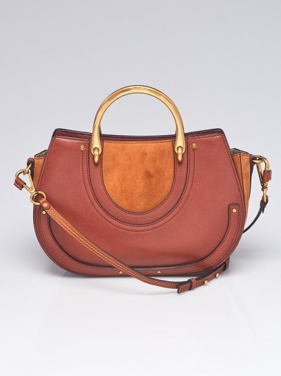 Chloe Saffron Red Leather and Suede Pixie Top Handle Medium Bag