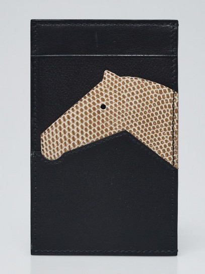 Hermes Black/Facille Sombrero II and Evercalf Leather with Lizard Les Petits Chevaux Card Holder