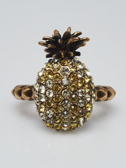 Gucci Jonquil and Topaz Crystal Studded Pineapple Ring Size 7.75