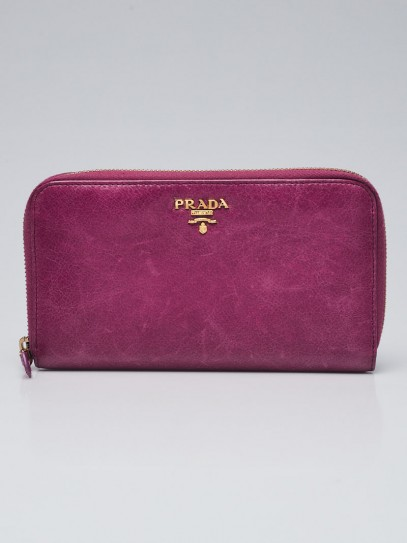 Prada Purple Leather Zippy Long Wallet