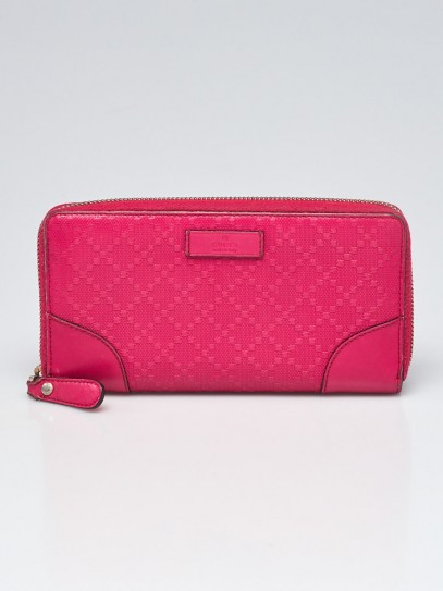 Gucci Pink Diamante Leather Zip Around Wallet
