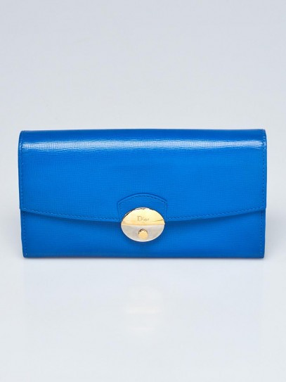 Christian Dior Blue Leather Long Flap Wallet
