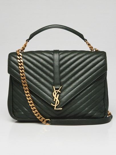 Yves Saint Laurent Green Chevron Quilted Leather Monogram Large College Bag